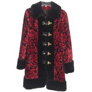 Red & Black Faux Fur Vintage Winter Coat Sz M